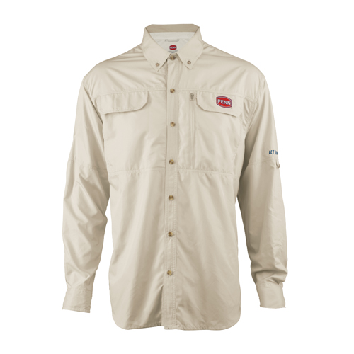 Penn Vented Performance Long Sleeve Shirts, Tan